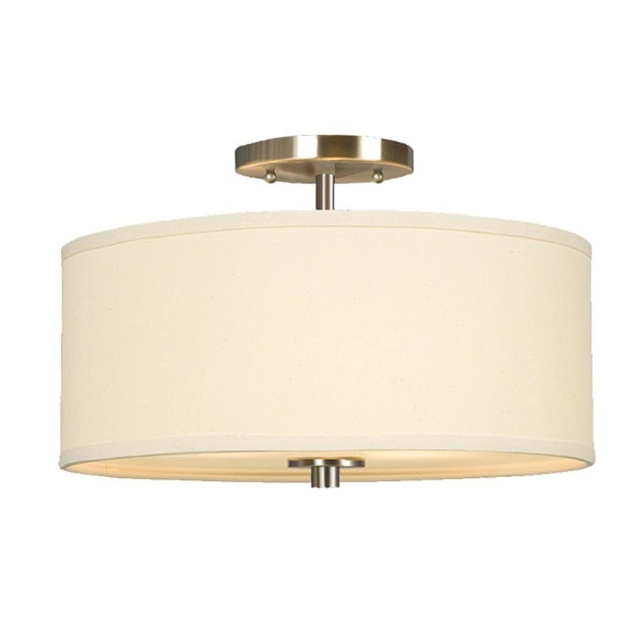 Galaxy Ansley 14-in W Brushed Nickel Fabric Semi-Flush Mount Light