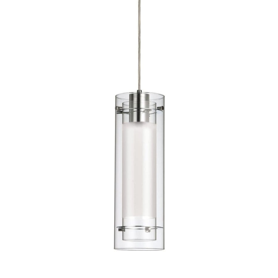 Dainolite Lighting 5-in Polished Chrome Mini Clear Glass Cylinder Pendant