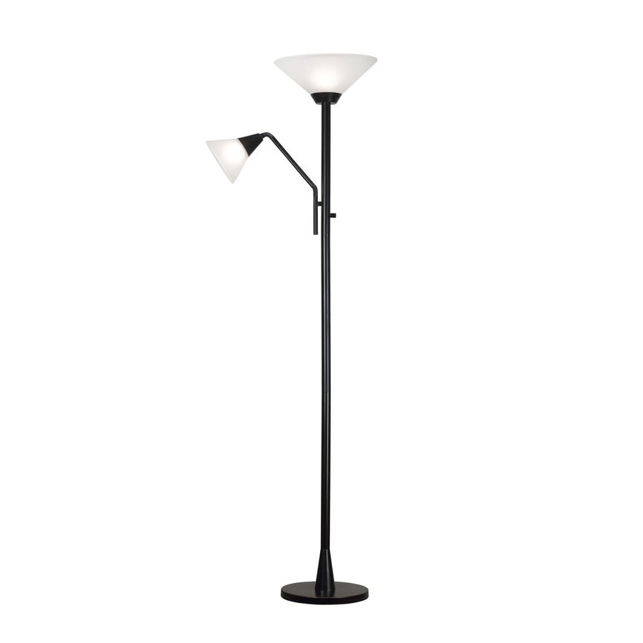Kenroy Home Rush 72-in Three-Way Oil Rubbed Bronze Torchiere with Side-Light Indoor Floor Lamp with Glass Shade