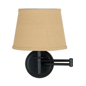 Kenroy Home 14 In H Swing Arm Wall Mounted Lamp With Fabric Shade
