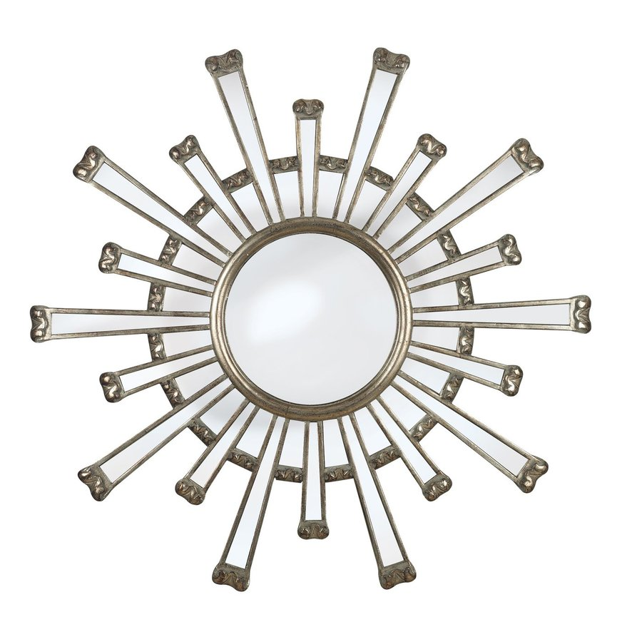 Kenroy Home Cameron 36-in x 36-in Silver Round Framed Sunburst Wall Mirror