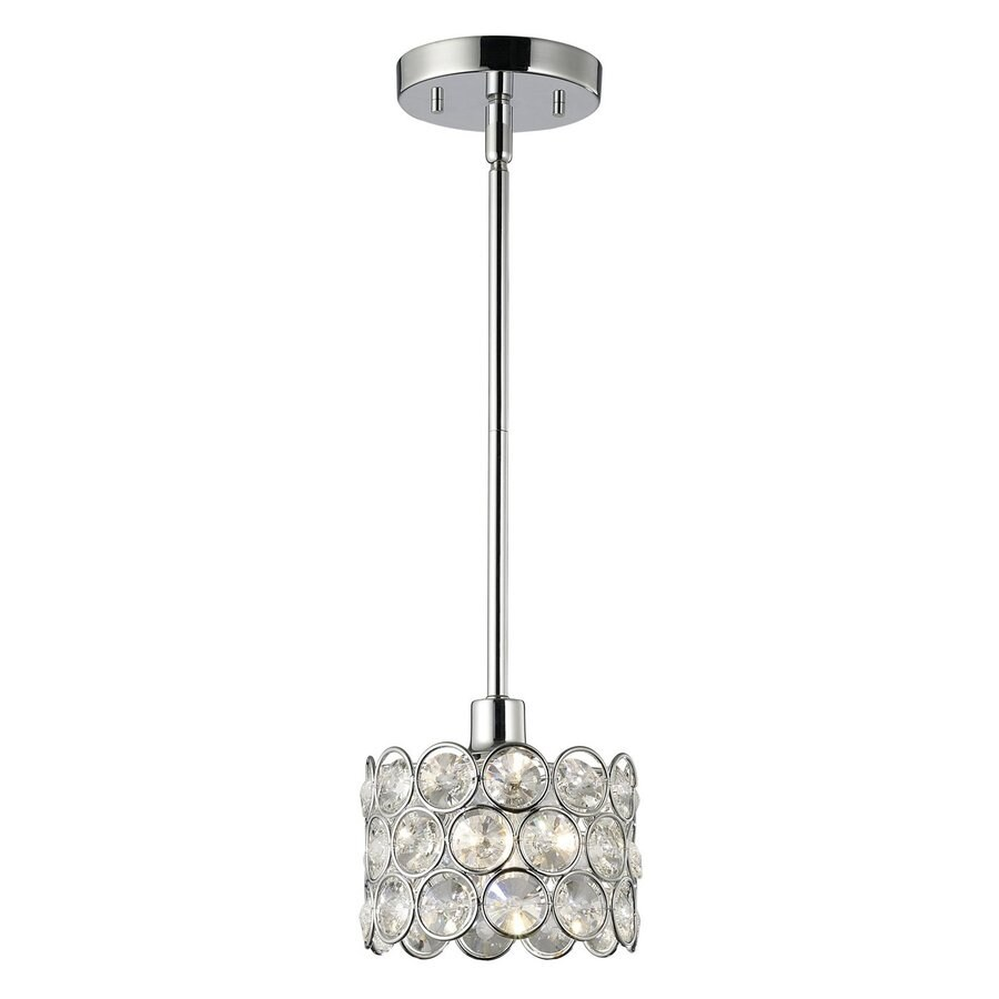 Canarm Alice 6 In W Chrome Crystal Mini Pendant Light With Shade