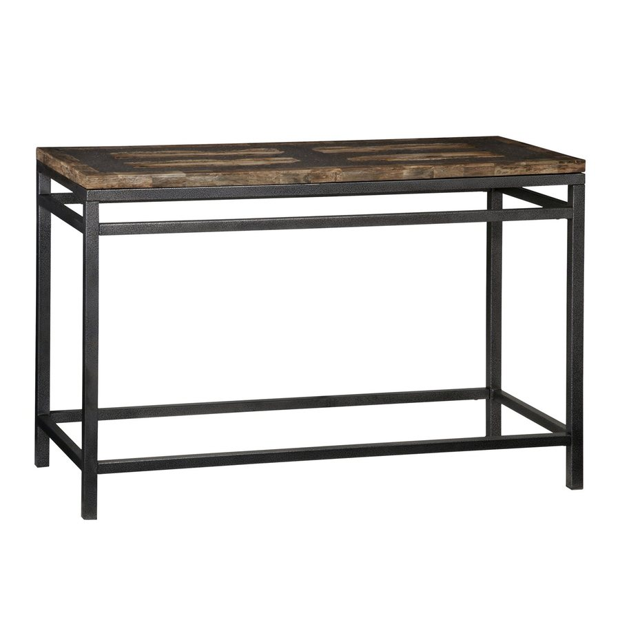 Shop home styles turn to stone petrified wood black for Metal and wood console tables