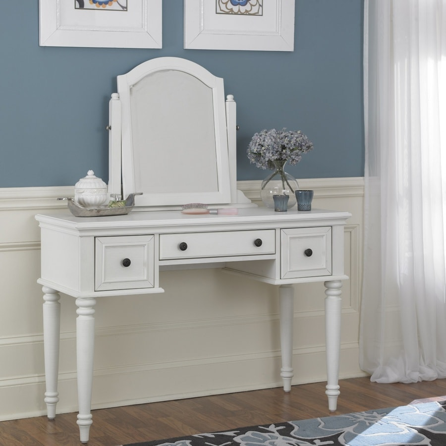 Home Styles Bermuda Brushed White Makeup Vanity
