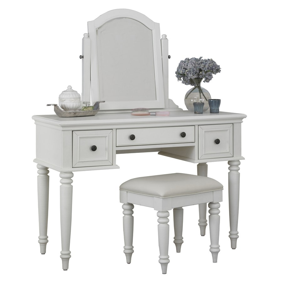Home Styles Bermuda Brushed White Makeup Vanity with Stool