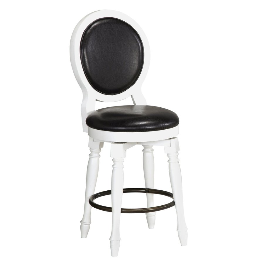 Home Styles Bermuda Brushed White/Black 25-in Counter Stool