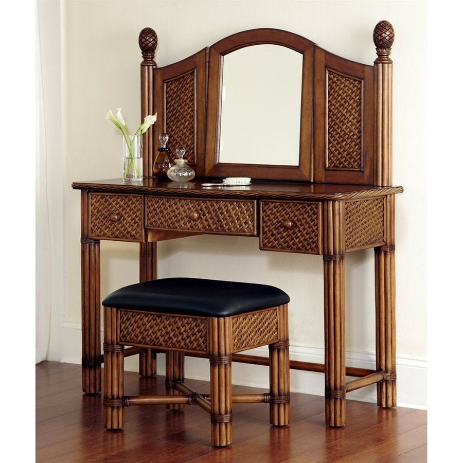 Shop Home Styles Marco Island Cinnamon Makeup Vanity With Stool At Lowes.com