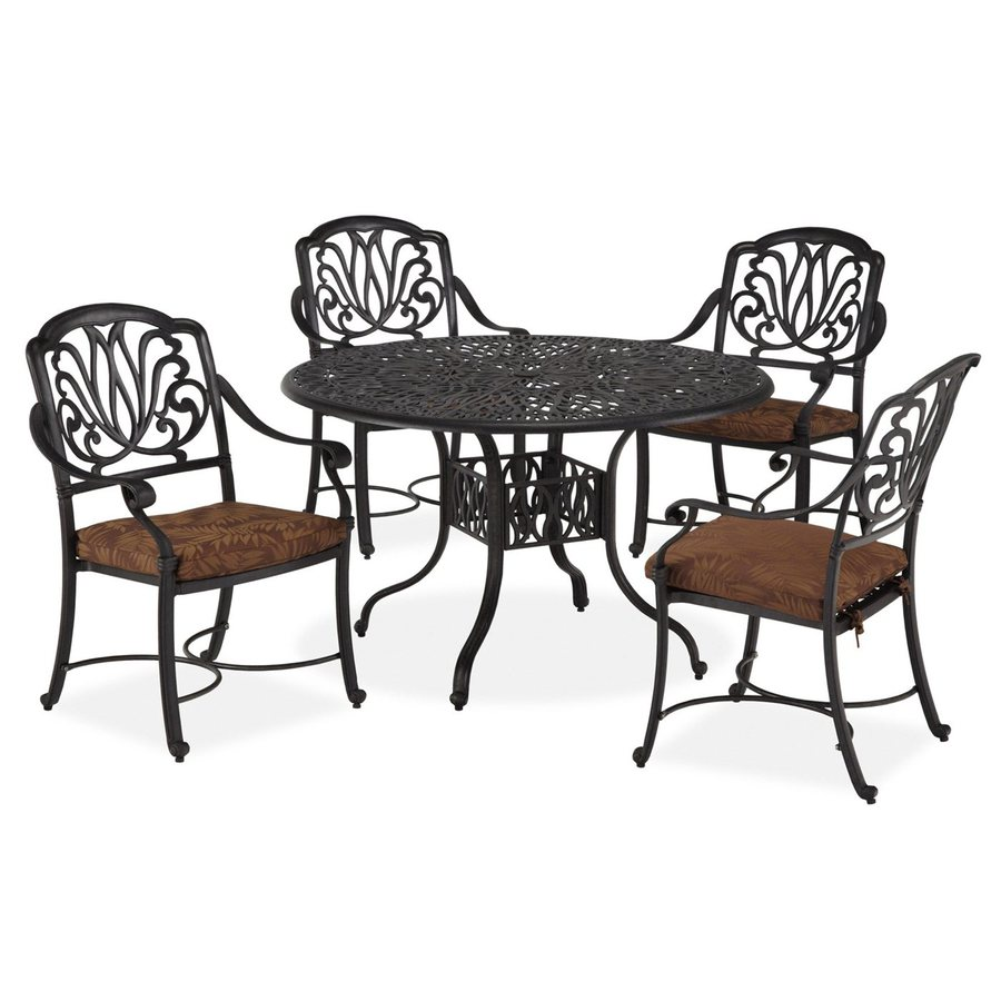 Home Styles Floral Blossom 5-Piece Charcoal Aluminum Patio Dining Set