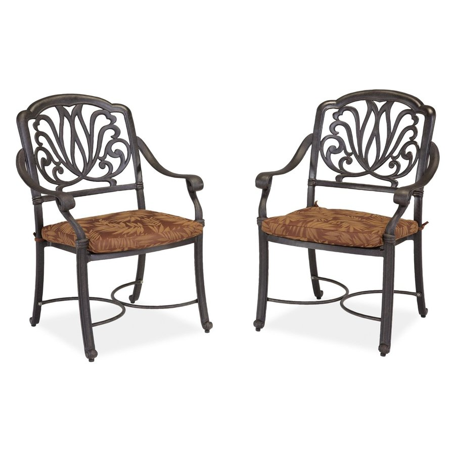 Home Styles Floral Blossom 2-Count Charcoal Aluminum Patio Dining Chairs