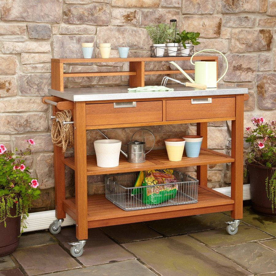 Home Styles 49.75-in L x 22-in D x 44.25-in H Natural Plant Cart