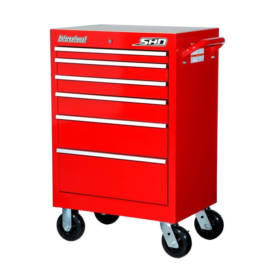 International Tool Storage 42-in x 27-in 6-Drawer Ball-Bearing Steel Tool Cabinet (Red)