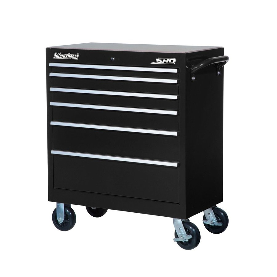 International Tool Storage 42-in x 35-in 6-Drawer Ball-Bearing Steel Tool Cabinet (Black)