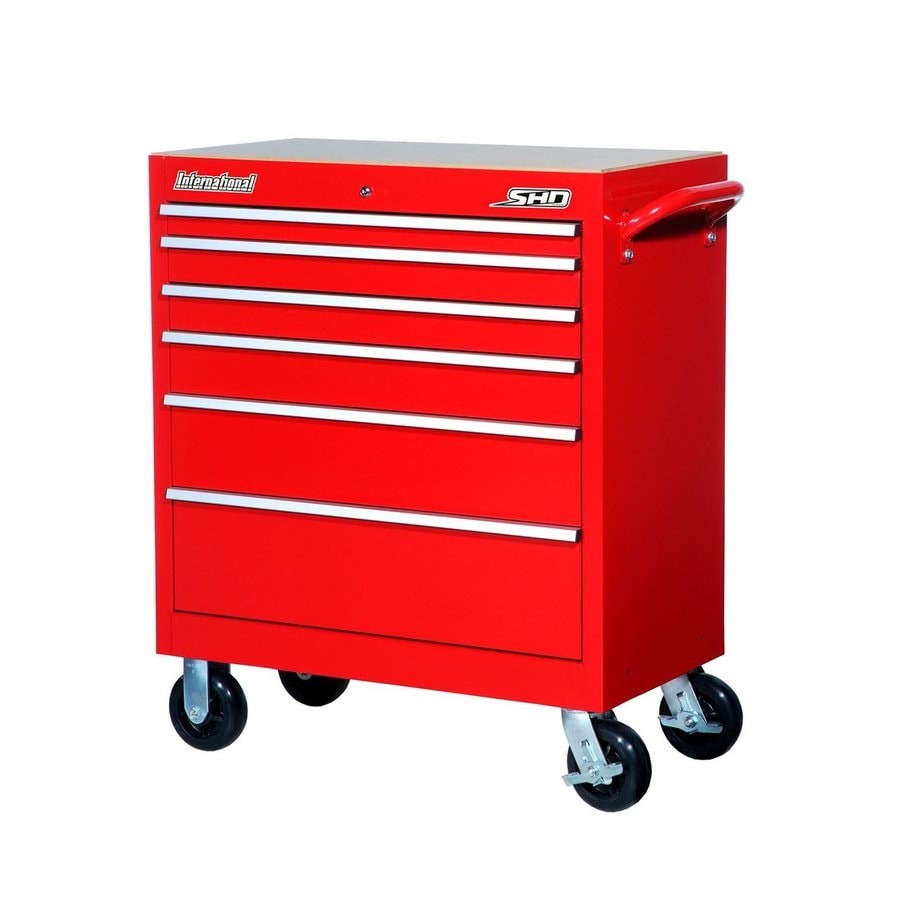 International Tool Storage 42-in x 35-in 6-Drawer Ball-Bearing Steel Tool Cabinet (Red)