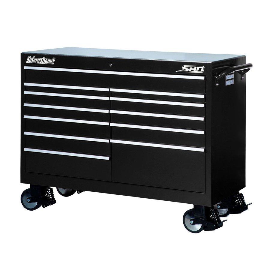 International Tool Storage 43-in x 53-1/2-in 12-Drawer Ball-Bearing Steel Tool Cabinet (Black)