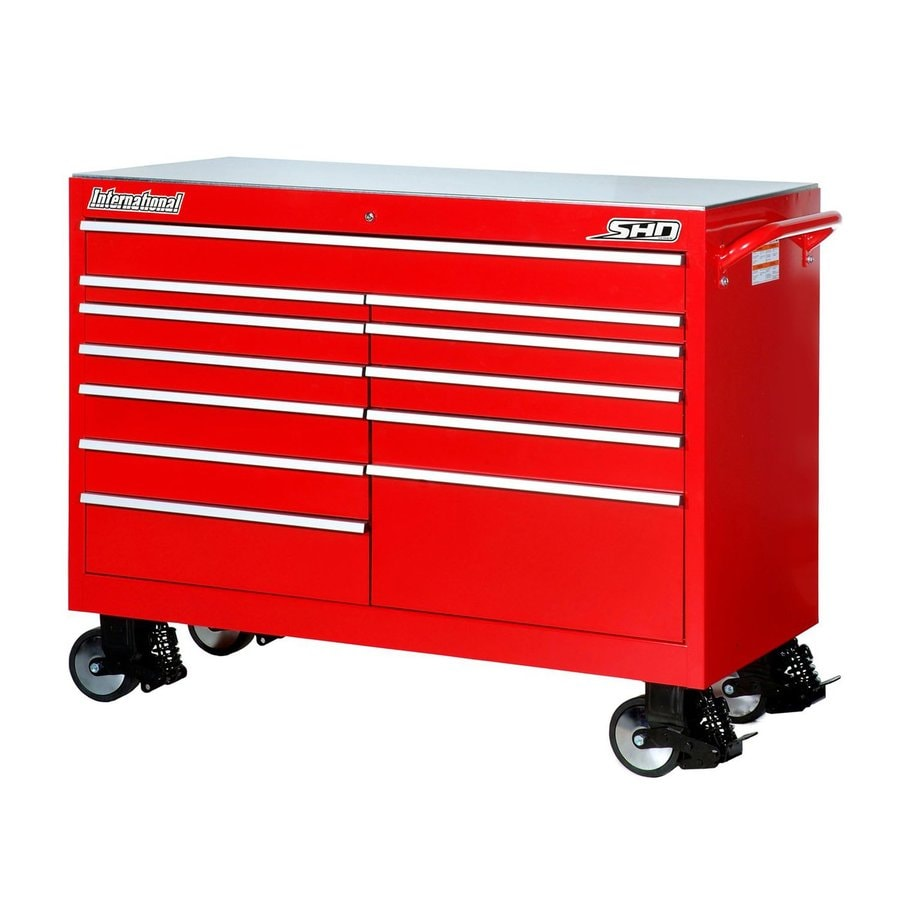 International Tool Storage 43-in x 53-1/2-in 12-Drawer Ball-Bearing Steel Tool Cabinet (Red)