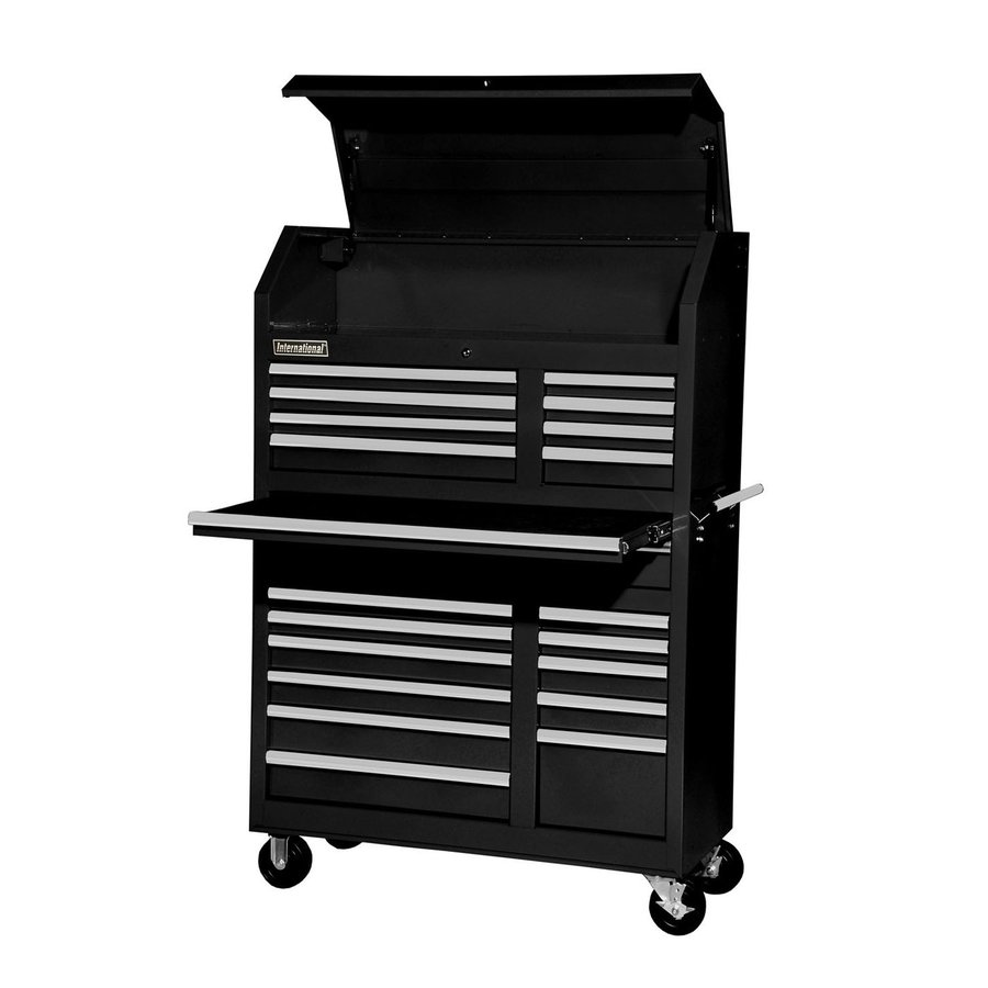 International Tool Storage 5-ft 1-5/16-in x 3-ft 5-1/2-in 20-Drawer Ball-Bearing Steel Tool Cabinet (Black)