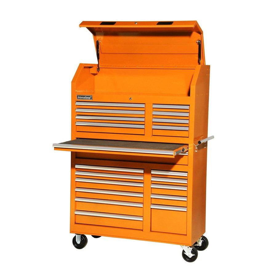 International Tool Storage 5-ft 1-5/16-in x 3-ft 5-1/2-in 20-Drawer Ball-Bearing Steel Tool Cabinet (Orange)