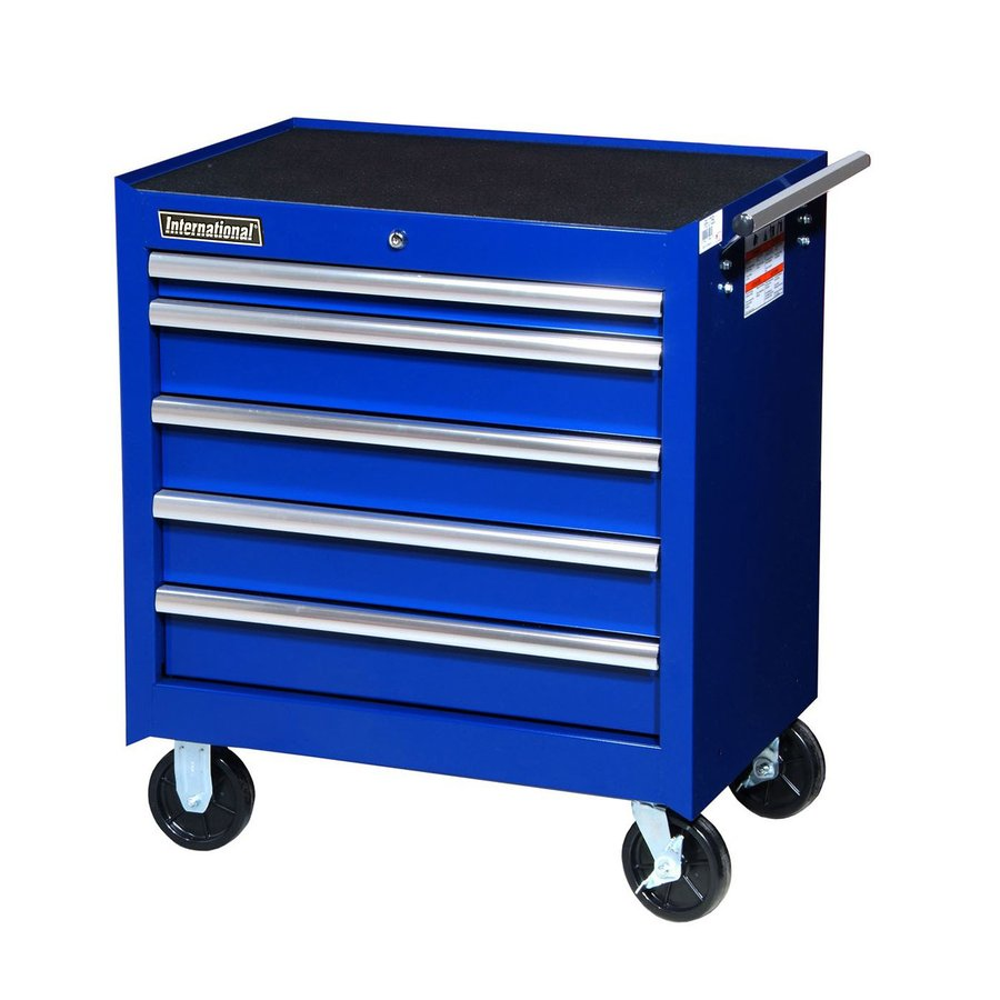 International Tool Storage 31-1/4-in x 27-in 5-Drawer Ball-Bearing Steel Tool Cabinet (Blue)