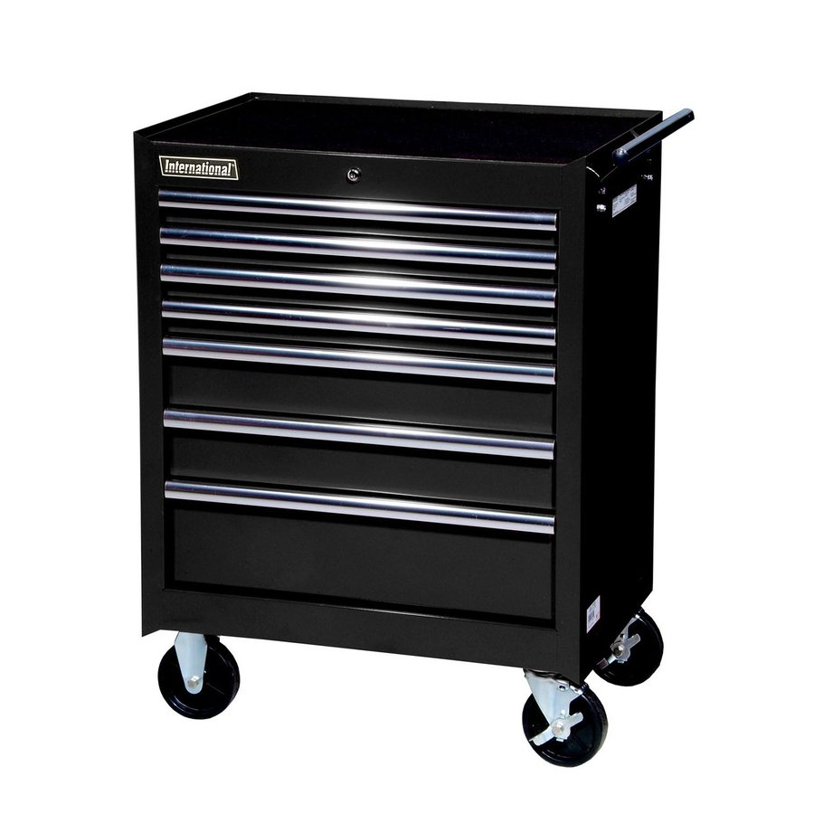International Tool Storage 35-5/8-in x 27-in 7-Drawer Ball-Bearing Steel Tool Cabinet (Black)