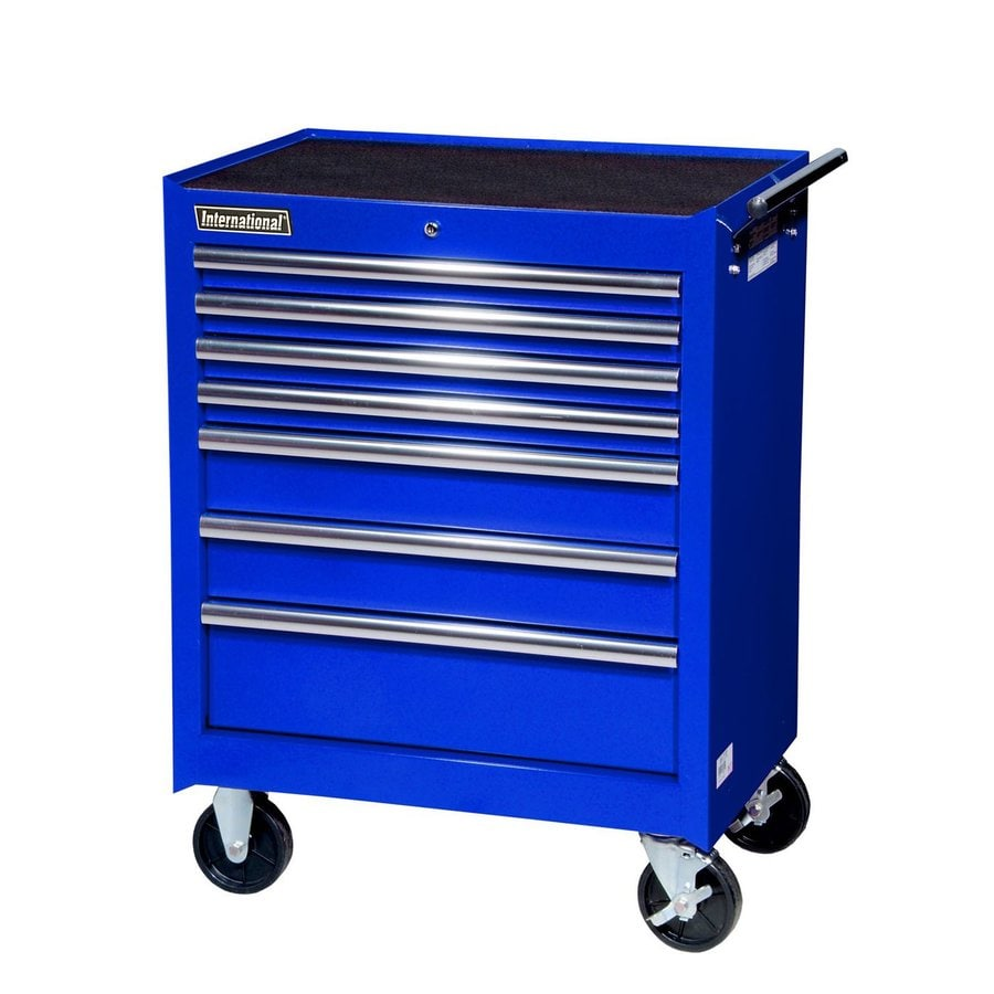 International Tool Storage 35-5/8-in x 27-in 7-Drawer Ball-Bearing Steel Tool Cabinet (Blue)