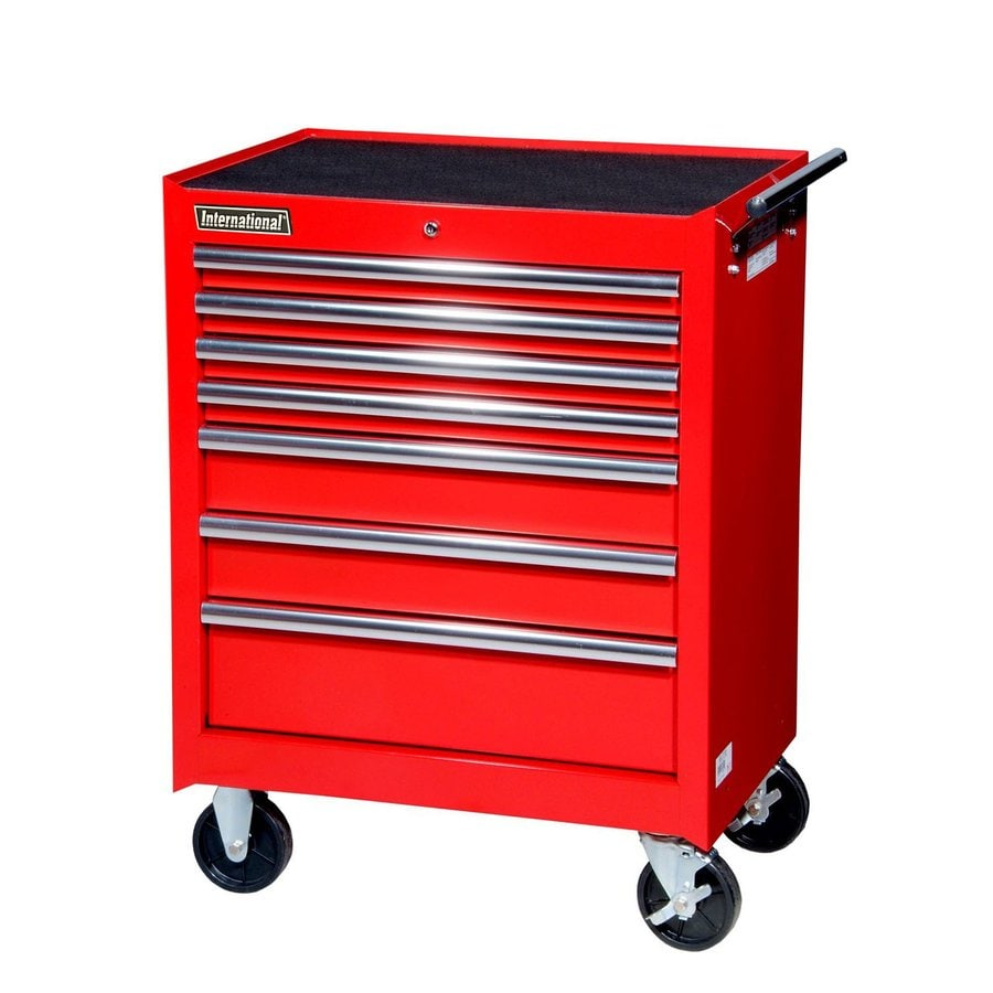 International Tool Storage 35-5/8-in x 27-in 7-Drawer Ball-Bearing Steel Tool Cabinet (Red)