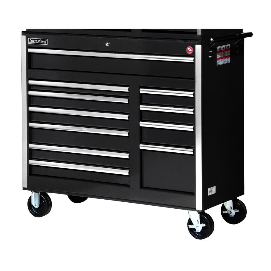 International Tool Storage 39-7/8-in x 41-1/2-in 11-Drawer Ball-Bearing Steel Tool Cabinet (Black)