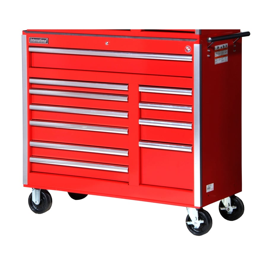 International Tool Storage 39-7/8-in x 41-1/2-in 11-Drawer Ball-Bearing Steel Tool Cabinet (Red)