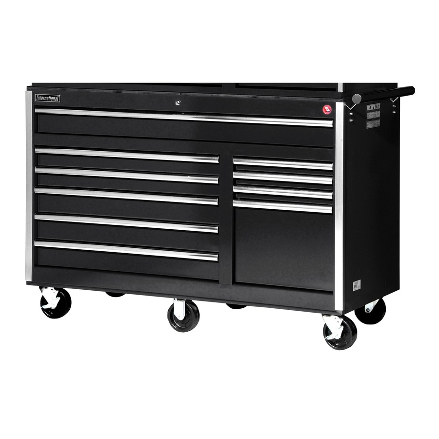 International Tool Storage 39-1/2-in x 56-1/2-in 10-Drawer Ball-Bearing Steel Tool Cabinet (Black)