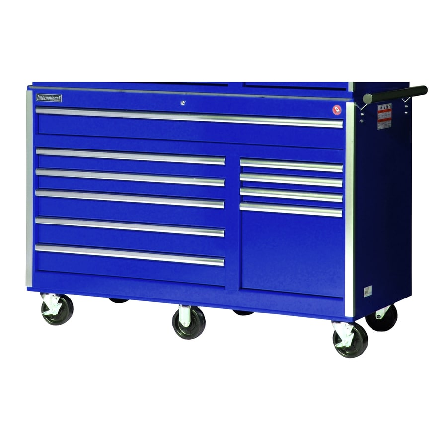 International Tool Storage 39-1/2-in x 56-1/2-in 10-Drawer Ball-Bearing Steel Tool Cabinet (Blue)