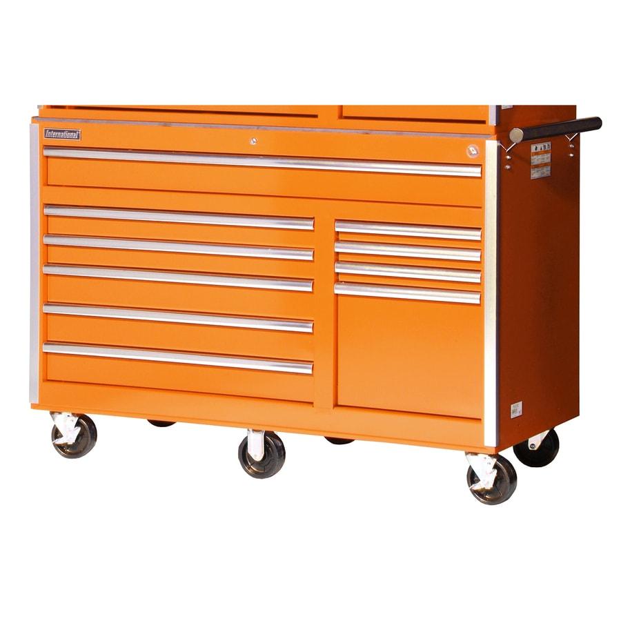 International Tool Storage 39-1/2-in x 56-1/2-in 10-Drawer Ball-Bearing Steel Tool Cabinet (Orange)