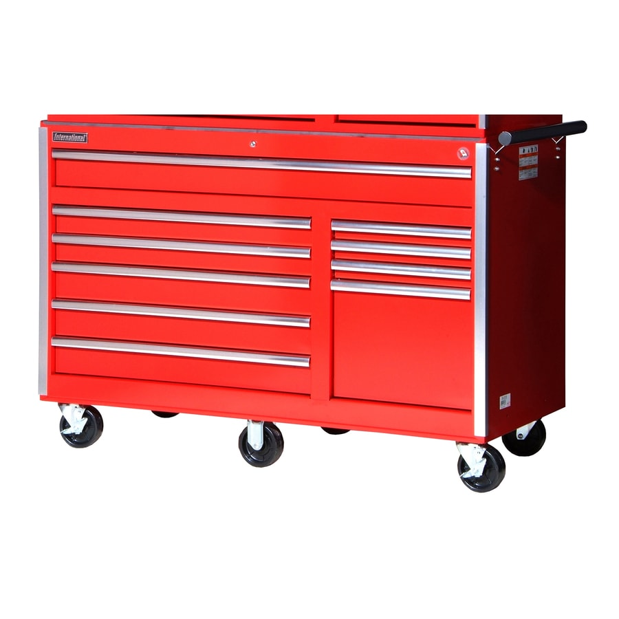 International Tool Storage 39-1/2-in x 56-1/2-in 10-Drawer Ball-Bearing Steel Tool Cabinet (Red)
