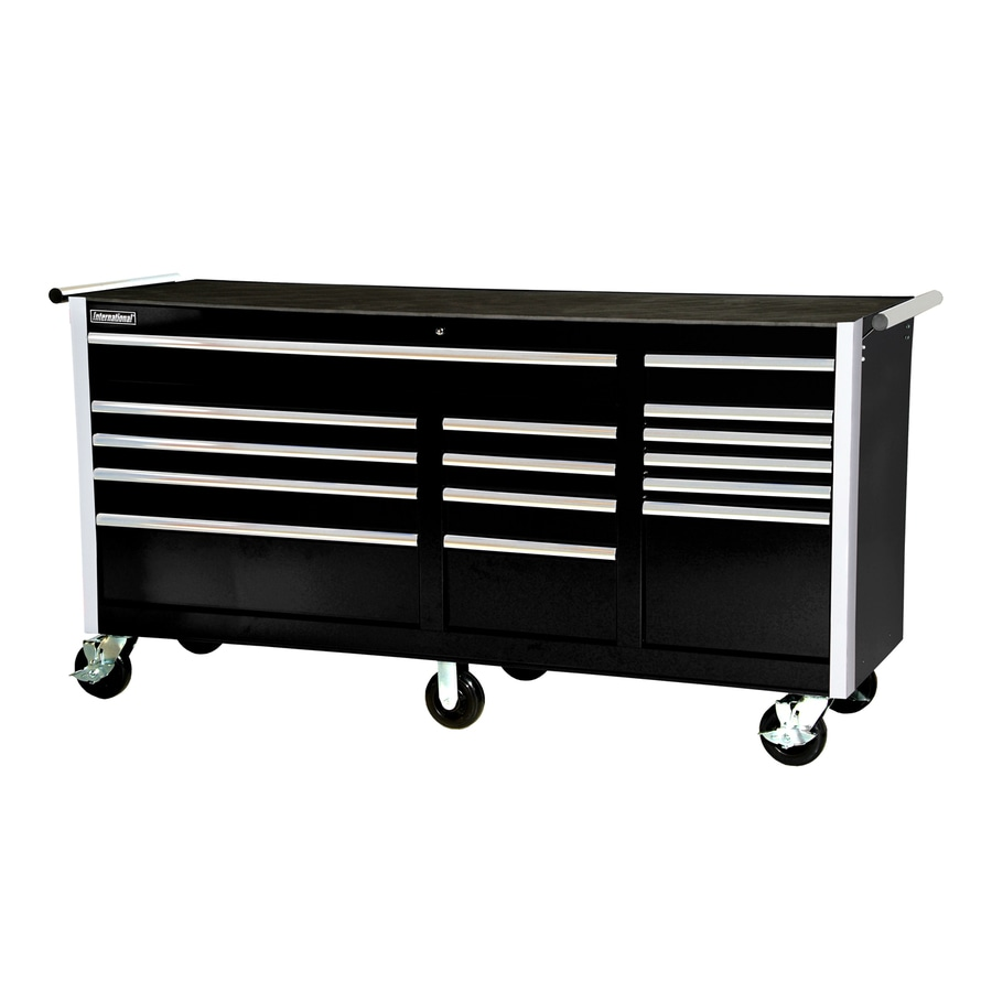 International Tool Storage 3-ft 3-3/8-in x 6-ft 3-1/4-in 15-Drawer Ball-Bearing   Tool Cabinet (Black)