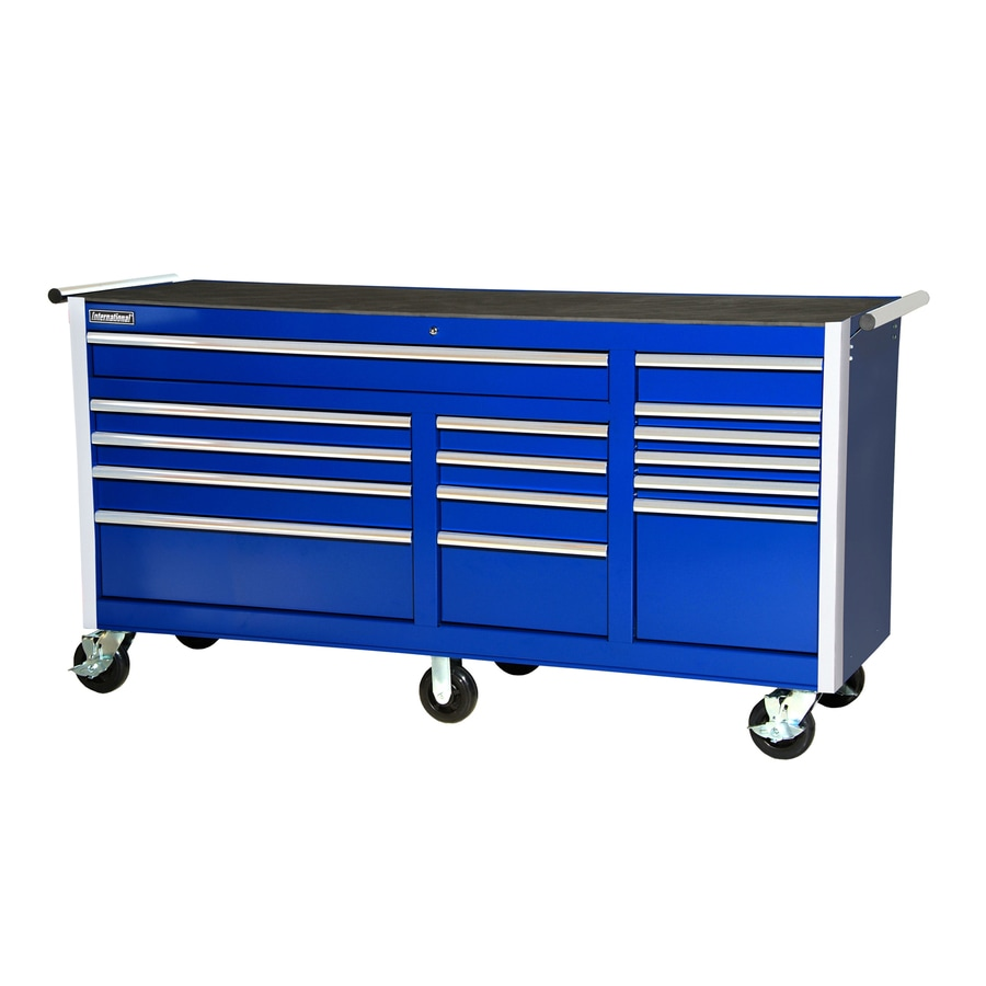 International Tool Storage 3-ft 3-3/8-in x 6-ft 3-1/4-in 15-Drawer Ball-Bearing   Tool Cabinet (Blue)