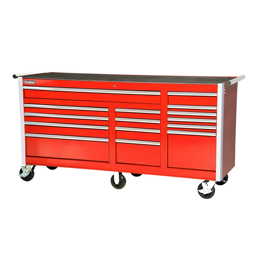International Tool Storage 3-ft 3-3/8-in x 6-ft 3-1/4-in 15-Drawer Ball-Bearing   Tool Cabinet (Red)
