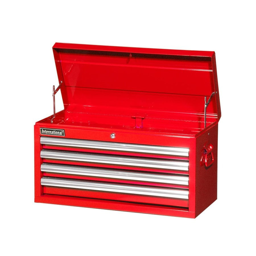 International Tool Storage Value 14.5-in x 26-in 4-Drawer Ball-Bearing Steel Tool Chest (Red)