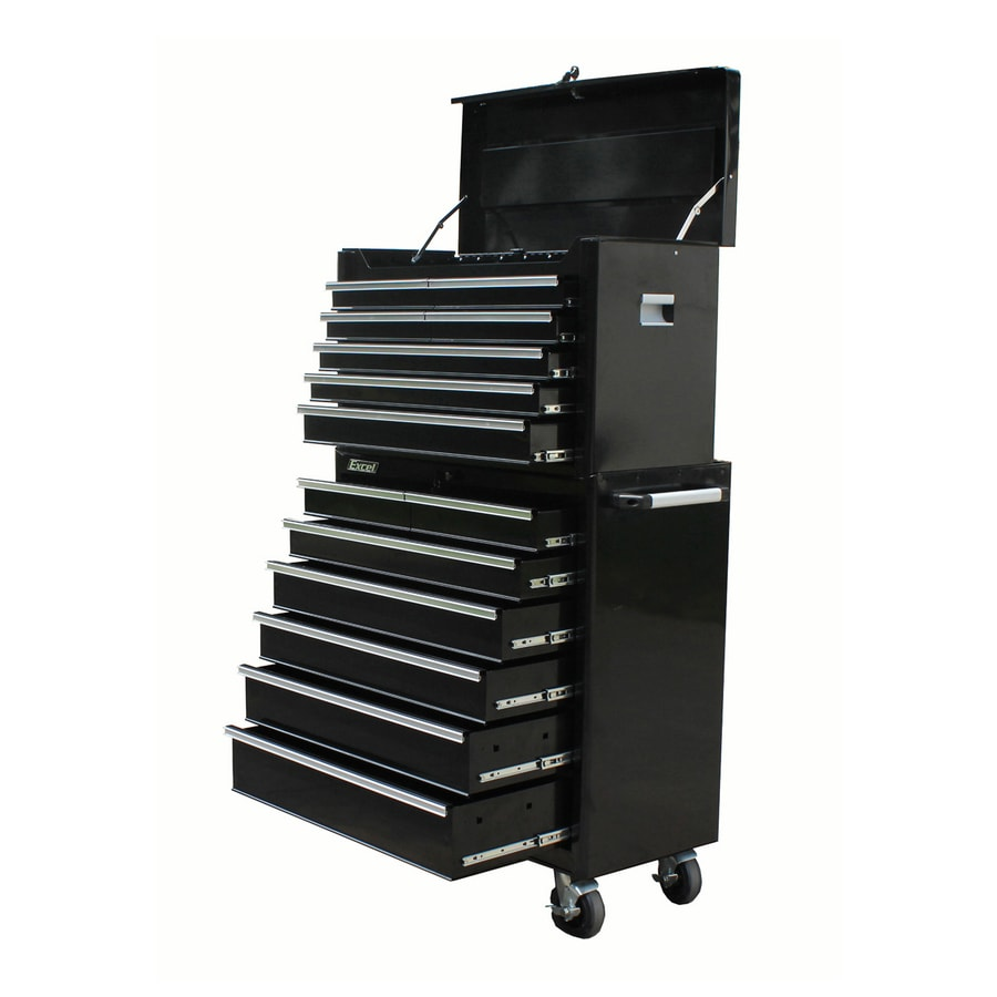 Excel 63.9-in x 14-Drawer Ball-Bearing Steel Tool Cabinet (Black)