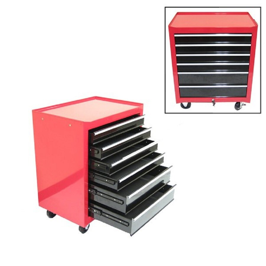 Excel 28.8-in x 26.8-in 6-Drawer Ball-Bearing Steel Tool Cabinet (Red)