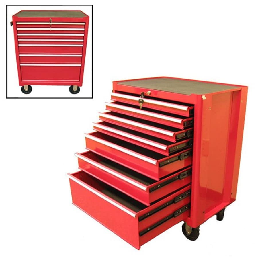 Excel 34.8-in x 27.1-in 7-Drawer Ball-Bearing Steel Tool Cabinet (Red)