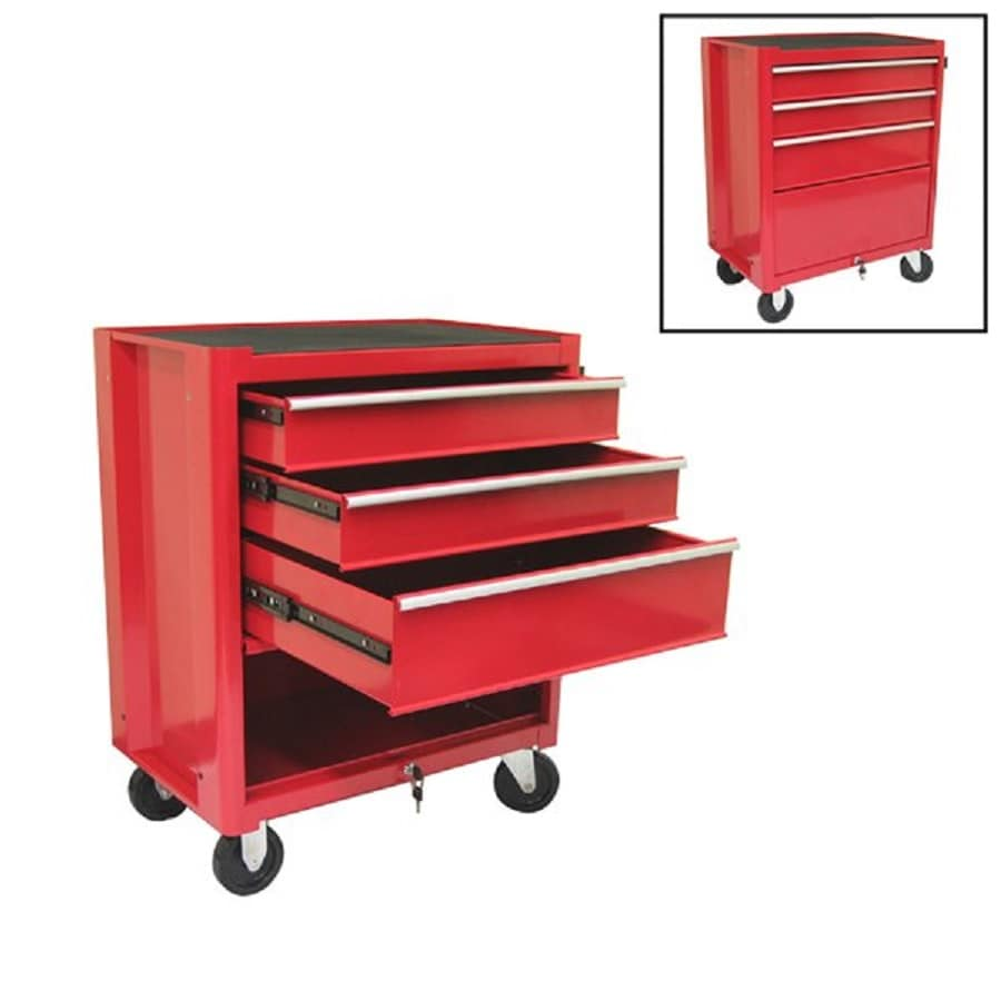 Excel 34.8-in x 27.1-in 3-Drawer Ball-Bearing Steel Tool Cabinet (Red)