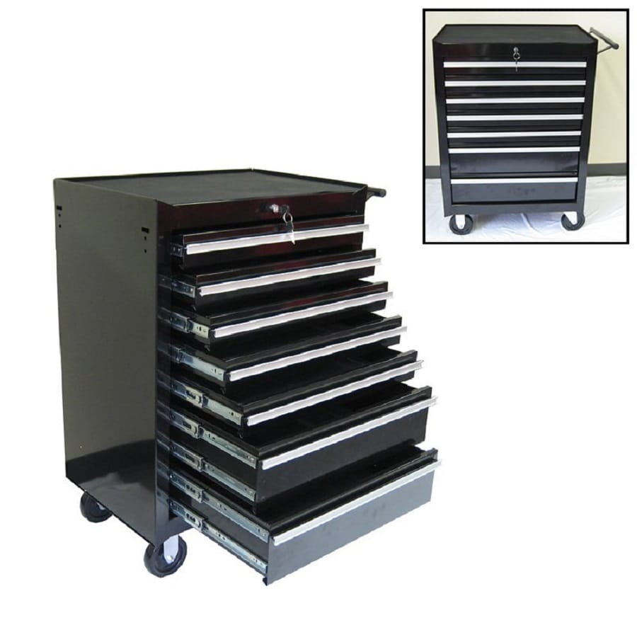 Excel 39.2-in x 26.8-in 7-Drawer Ball-Bearing Steel Tool Cabinet (Black)