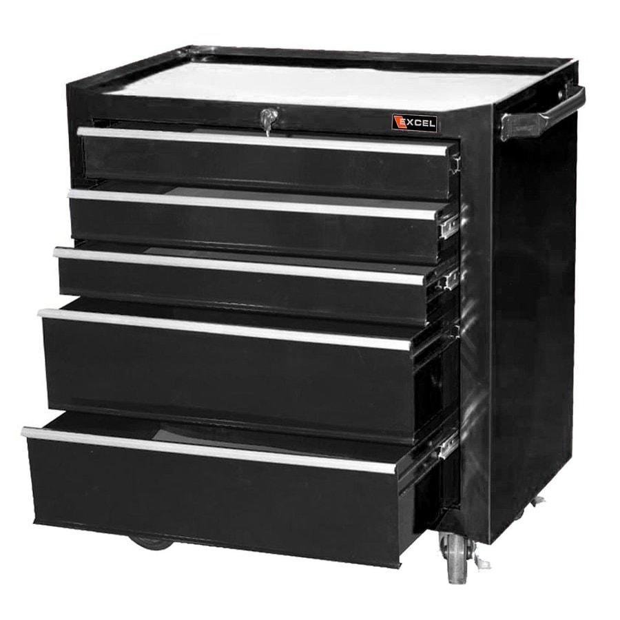 Excel 30.3-in x 26.8-in 5-Drawer Ball-Bearing Steel Tool Cabinet (Black)