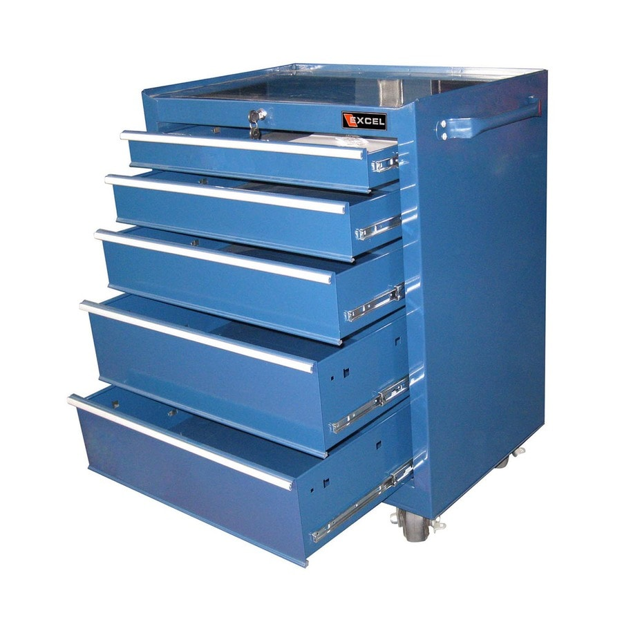 Excel 36.3-in x 27-in 5-Drawer Ball-Bearing Steel Tool Cabinet (Blue)