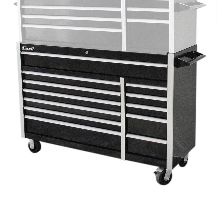 Excel 39.7-in x 56-in 12-Drawer Ball-Bearing Steel Tool Cabinet (Black)