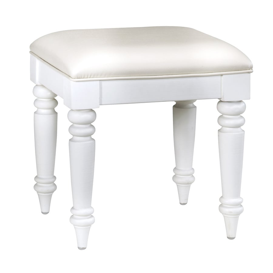 Beau Home Styles 18.5 In H Brushed White Rectangular Makeup Vanity Stool