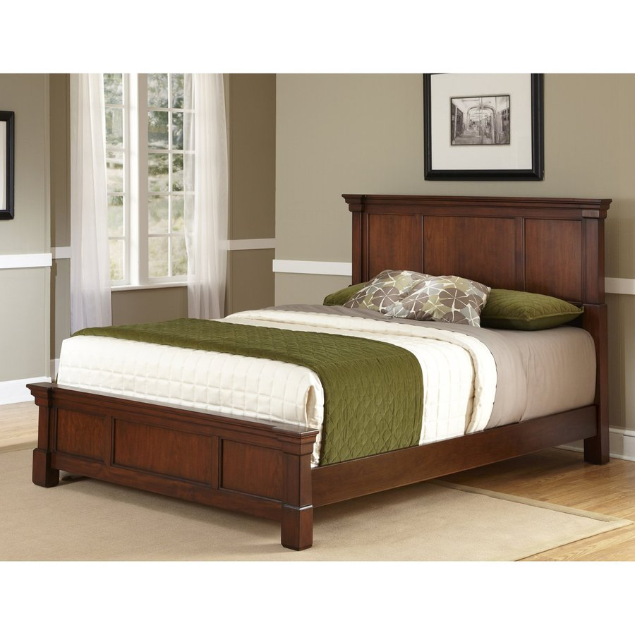 Shop home styles aspen rustic cherry king panel bed at for Furniture and mattress warehouse king