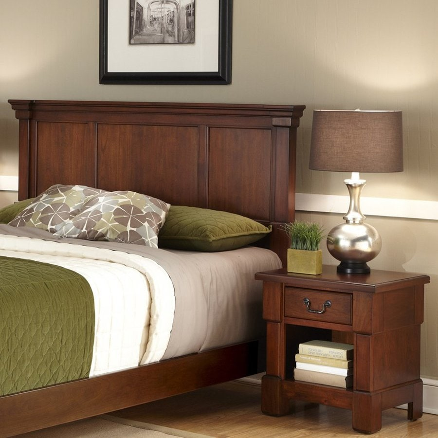 Shop home styles aspen rustic cherry king bedroom set at for Bedroom furniture 28117