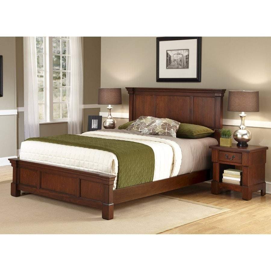 Shop home styles aspen rustic cherry king bedroom set at for Bed sets with mattress