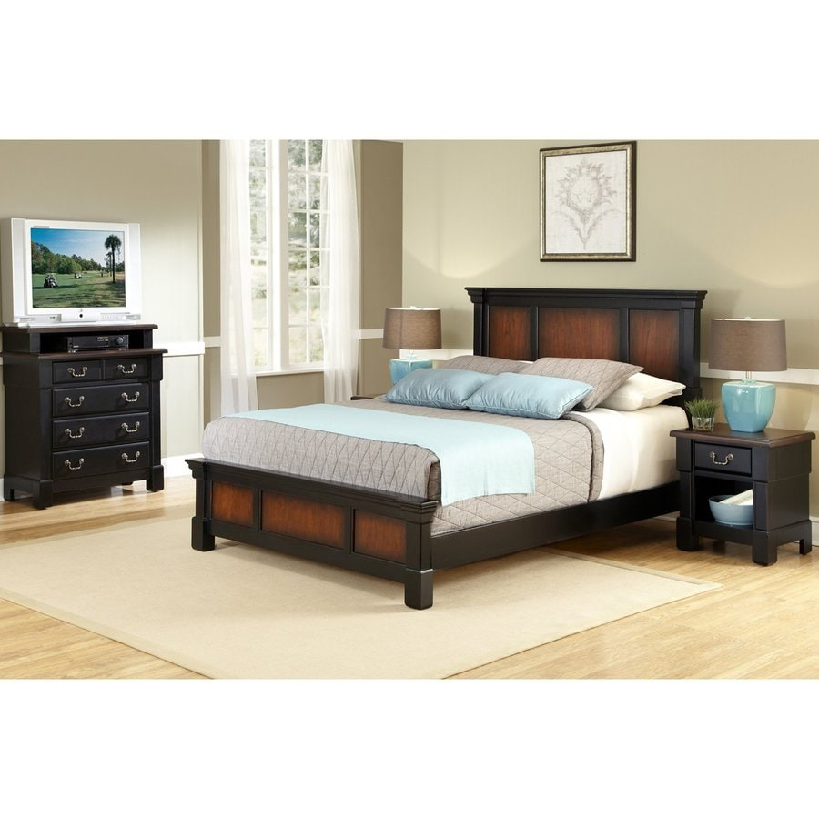 Shop home styles aspen rustic cherry black full queen - Black queen bedroom furniture set ...
