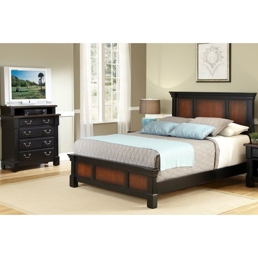 Shop home styles aspen rustic cherry black king bedroom for Home styles bedroom furniture