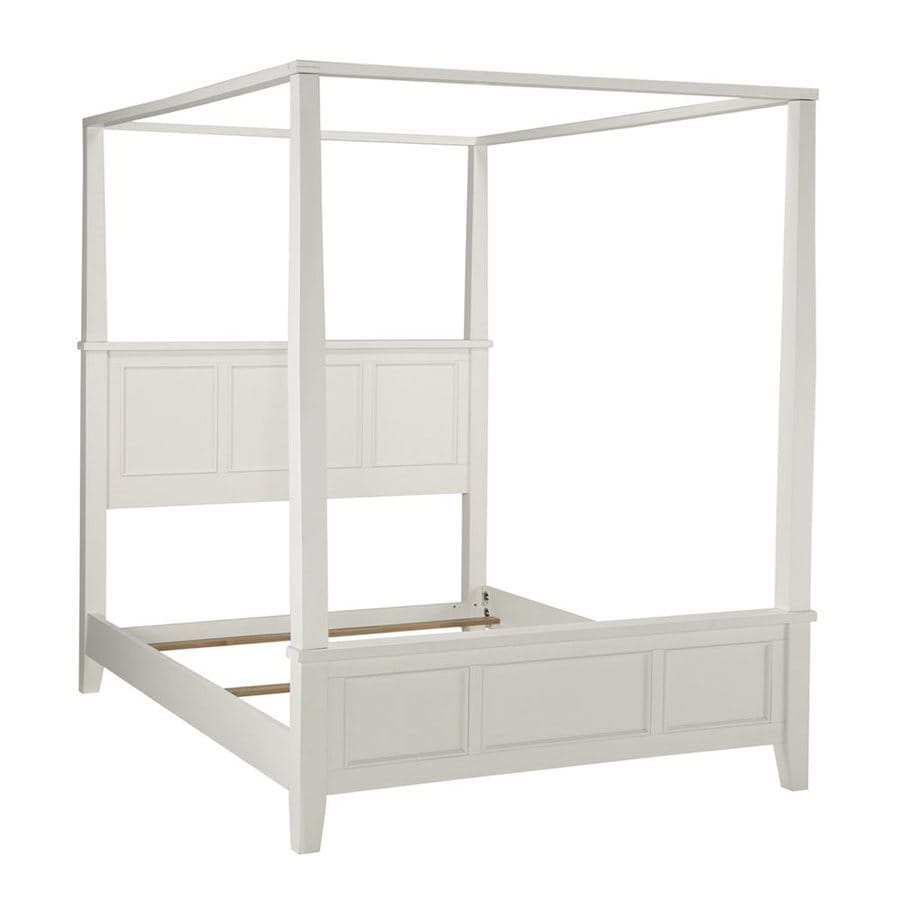 Home Styles Naples White Queen Canopy Bed  sc 1 st  Loweu0027s : full canopy bed white - memphite.com